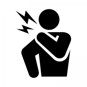 関節痛・首の痛みの白黒シルエットイラスト02