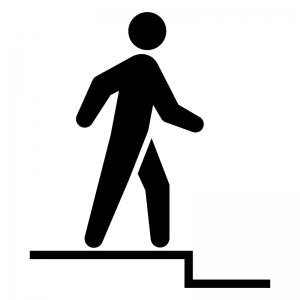 足元の段差(下り)に注意の白黒シルエットイラスト