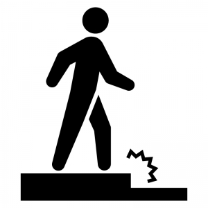 足元の段差(下り)に注意の白黒シルエットイラスト02