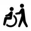車椅子の介護の白黒シルエットイラスト