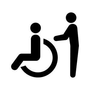 車椅子の介護の白黒シルエットイラスト02