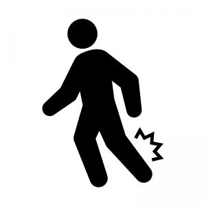 足の捻挫・痙攣(けいれん)・痛みの白黒シルエットイラスト