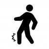 足の捻挫・痙攣(けいれん)・痛みの白黒シルエットイラスト03