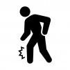 足の捻挫・痙攣(けいれん)・痛みの白黒シルエットイラスト04