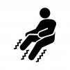 足の痺れ(しびれ)・痛みの白黒シルエットイラスト02