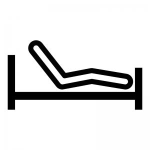 ベッドのギャッチアップの白黒シルエットイラスト