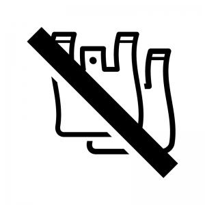 ノーレジ袋(レジ袋不要)の白黒シルエットイラスト02