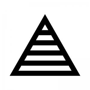ピラミッド構造の白黒シルエットイラスト02