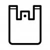 ビニールのレジ袋の白黒シルエットイラスト