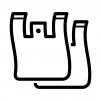 ビニールのレジ袋の白黒シルエットイラスト02