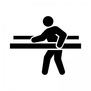 リハビリ・歩行訓練の白黒シルエットイラスト02