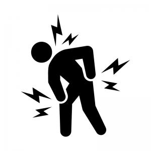 関節痛・肩・腰・膝の痛みの白黒シルエットイラスト02
