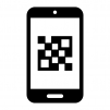 スマホでQRコード認識の白黒シルエットイラスト