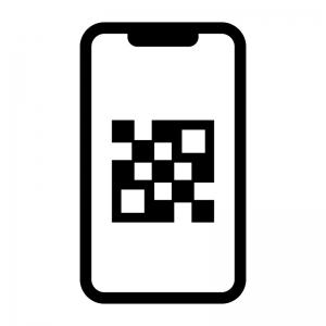 スマホでQRコード認識の白黒シルエットイラスト02