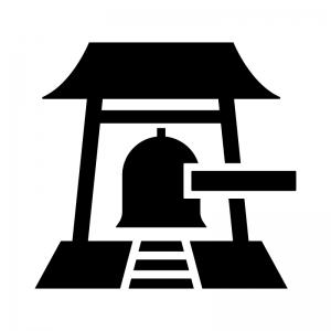 寺院の鐘・除夜の鐘の白黒シルエットイラスト