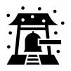雪と寺院の鐘・除夜の鐘の白黒シルエットイラスト