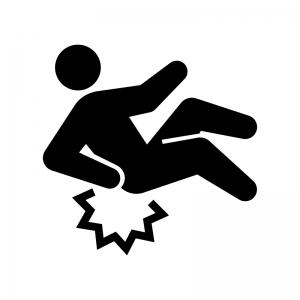 転倒・足元に注意の白黒シルエットイラスト02