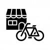 自転車屋さんの白黒シルエットイラスト