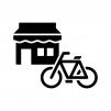 自転車屋さんの白黒シルエットイラスト02