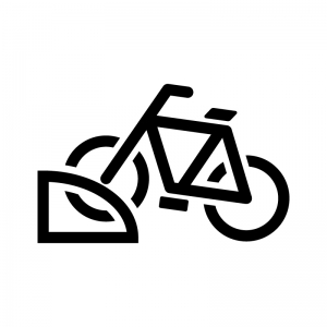 ロック付きの自転車の駐車場の白黒シルエットイラスト
