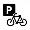 自転車の駐車場の白黒シルエットイラスト