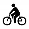 自転車に乗っている人物の白黒シルエットイラスト02