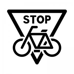 自転車の止まれの白黒シルエットイラスト