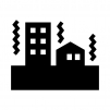 建物と地震の白黒シルエットイラスト