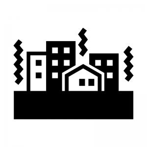 建物と地震の白黒シルエットイラスト02