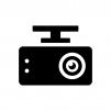 ドライブレコーダー(ドラレコ)の白黒シルエットイラスト