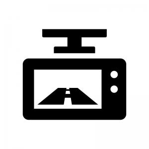 ドライブレコーダー(ドラレコ)の白黒シルエットイラスト03