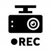 ドライブレコーダー(ドラレコ)で録画の白黒シルエットイラスト