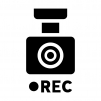 ドライブレコーダー(ドラレコ)で録画の白黒シルエットイラスト02