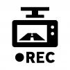 ドライブレコーダー(ドラレコ)で録画の白黒シルエットイラスト03