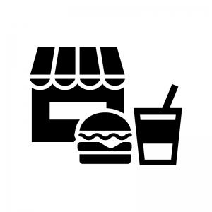 ファーストフード店・飲食店の白黒シルエットイラスト