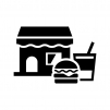 ファーストフード店・飲食店の白黒シルエットイラスト02