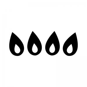 ガス火の白黒シルエットイラスト02