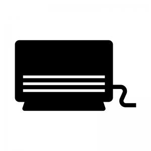 ガスファンヒーターの白黒シルエットイラスト