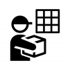配達ボックスへお届けの白黒シルエットイラスト素材02