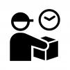 宅配便・配達の時間指定の白黒シルエットイラスト