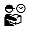 宅配便・配達の時間指定の白黒シルエットイラスト02