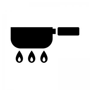 手鍋とガス火の白黒シルエットイラスト
