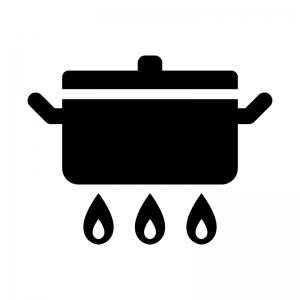 お鍋とガス火の白黒シルエットイラスト