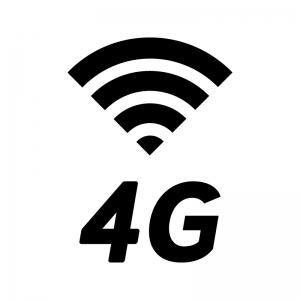 4G回線の白黒シルエットイラスト