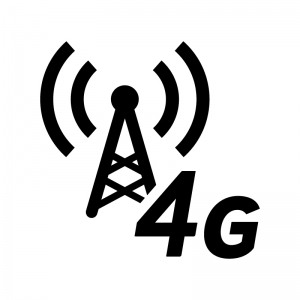 4G回線・電波の白黒シルエットイラスト