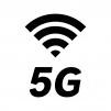 5G回線の白黒シルエットイラスト