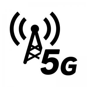 5G回線・電波の白黒シルエットイラスト