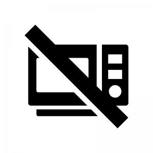 電子レンジ調理禁止の白黒シルエットイラスト