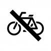 駐輪禁止の白黒シルエットイラスト
