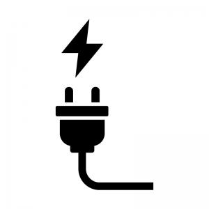 電気コード・充電の白黒シルエットイラスト